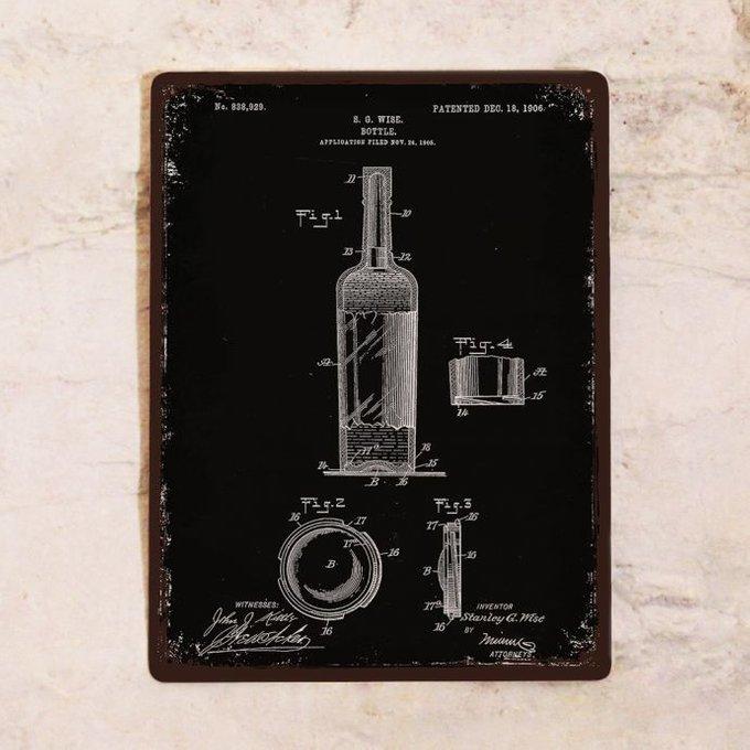 Жестяная табличка Патент винной бутылки 30х40