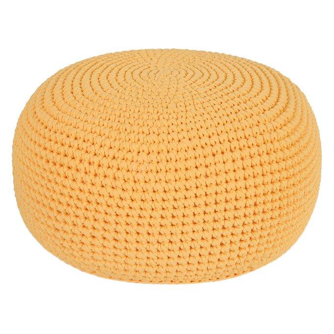 Вязаный пуф Желтого цвета