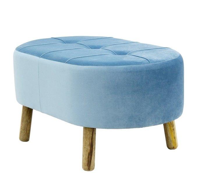 Банкетка голубого цвета на деревянных ножках