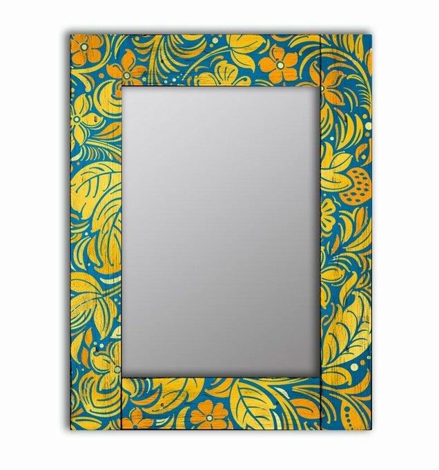 Настенное зеркало Лето в раме из массива сосны 90х90