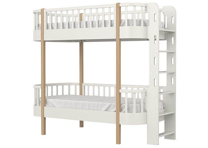 Кровать двухъярусная Сlassic молочного цвета