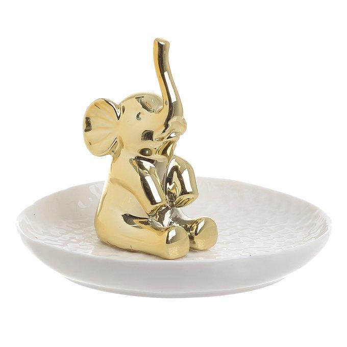 Керамическое блюдо бело-золотого цвета