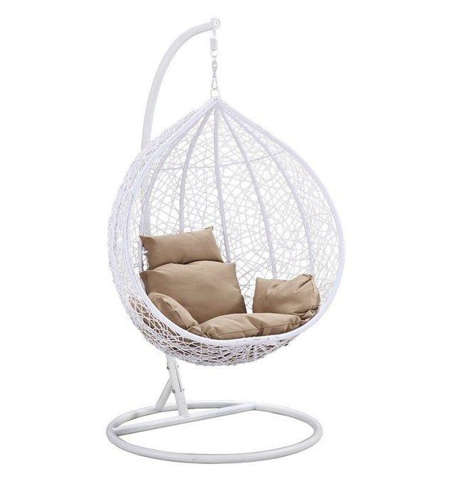 Большое подвесное кресло Gusto white белого цвета