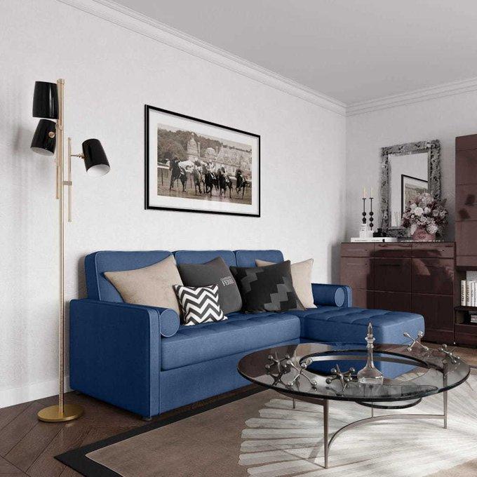 Диван-кровать угловой Лорен синего цвета