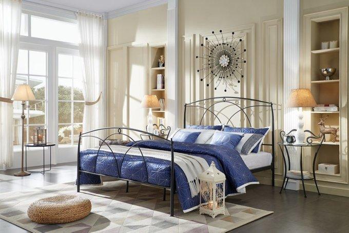 Кровать двухспальная Аннетт черного цвета 180х200