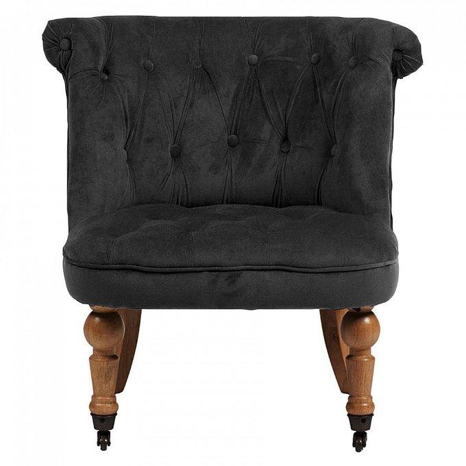 Кресло Amelie French Country Chair с обивкой из велюра серого цвета