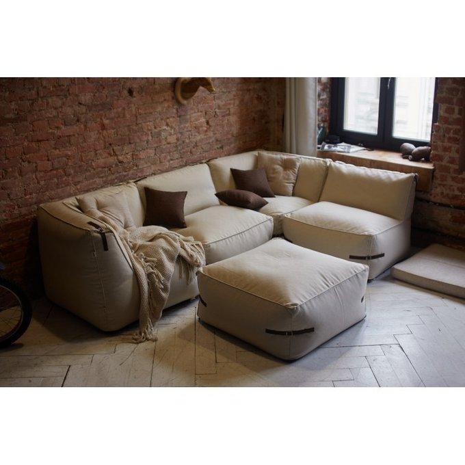 Бескаркасный модульный диван Premium c ремешками из кожи
