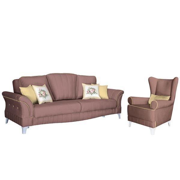 Каролина диван-кровать и кресло в обивке из велюра цвета пыльной розы