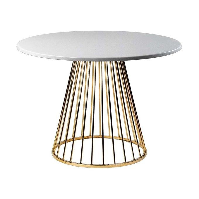 Обеденный стол Twister Gold со столешницей серебряного цвета