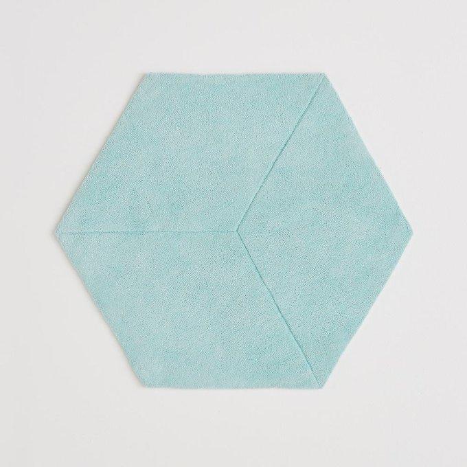 Ковер Camino шестиугольный из хлопка бирюзового цвета