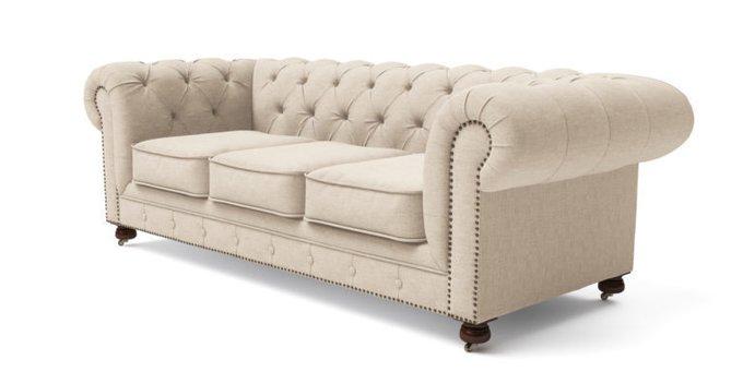 Трехместный диван Chesterfield Lux голубой