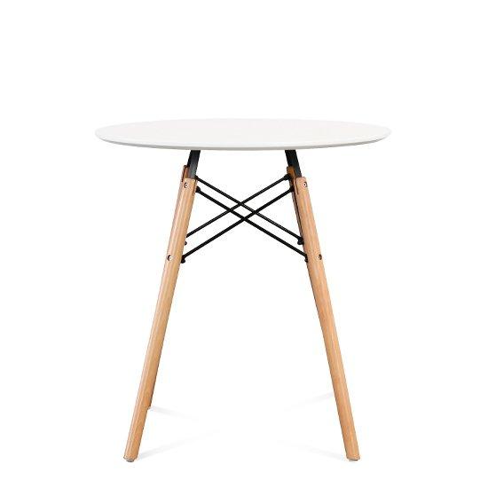 Стол круглый с ножками из массива бука и столешницей белого цвета 70х73