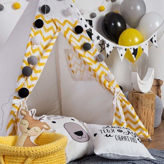 Наволочка на декоративную подушку Yellow Zigzag