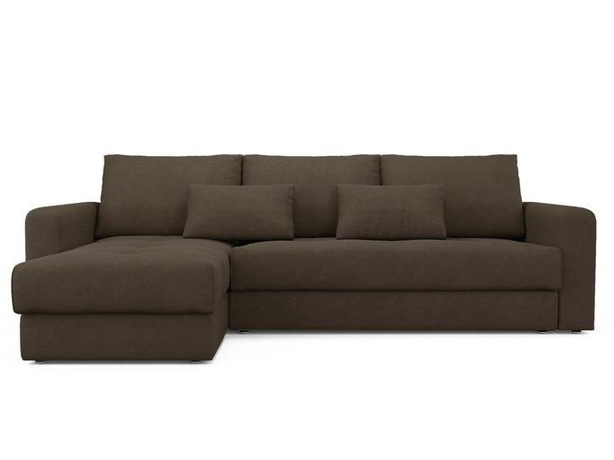 Угловой диван-кровать левый Ruiz темно-коричневого цвета