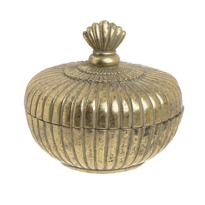 Шкатулка из стекла и искусственного камня золотого цвета