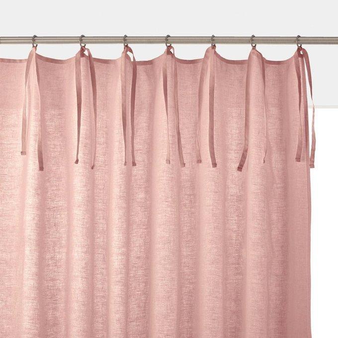 Штора Odorie из льна и вискозы с завязками розового цвета 350x135