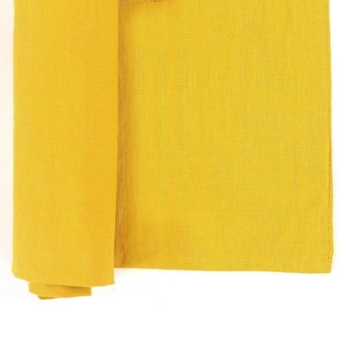 Двухсторонняя салфетка под приборы из умягченного льна горчичного цвета