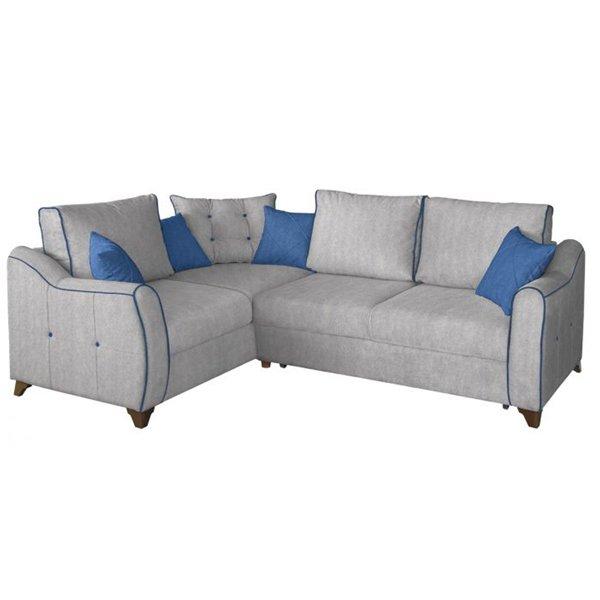 Угловой диван Френсис в обивке из велюра серого цвета
