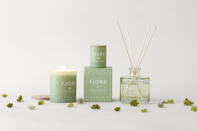 Свеча ароматическая Fjord зеленого цвета с крышкой