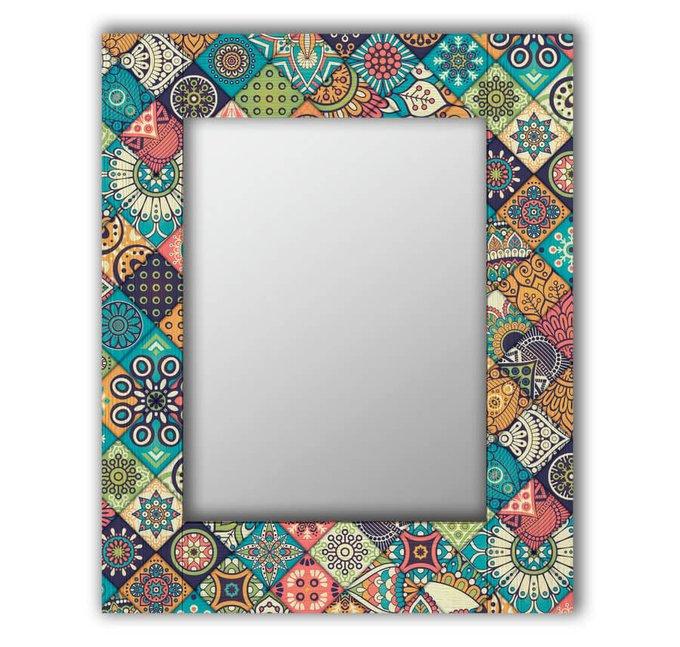 Настенное зеркало Арабская плитка в раме из массива сосны 50х65