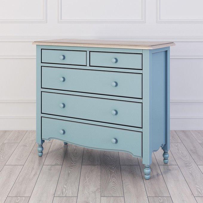 Комод Leblanc с пятью ящиками голубого цвета