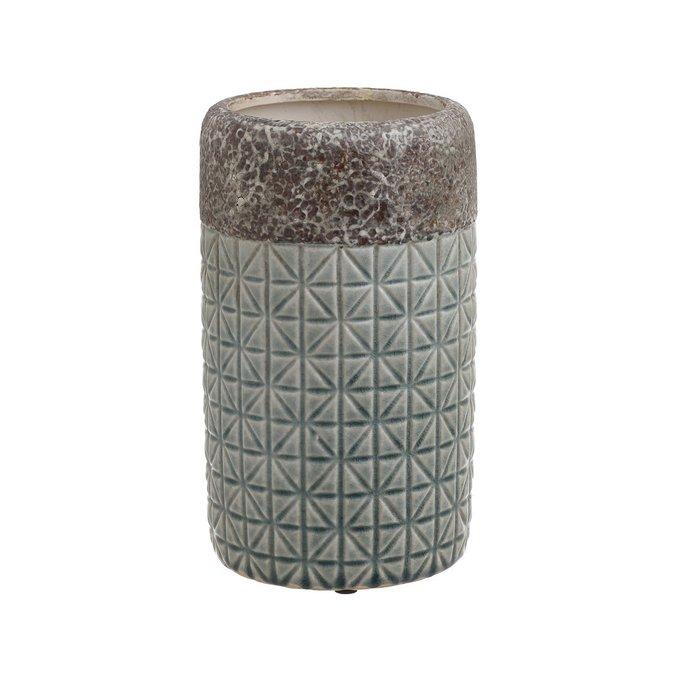 Керамическая ваза серо-бирюзового цвета