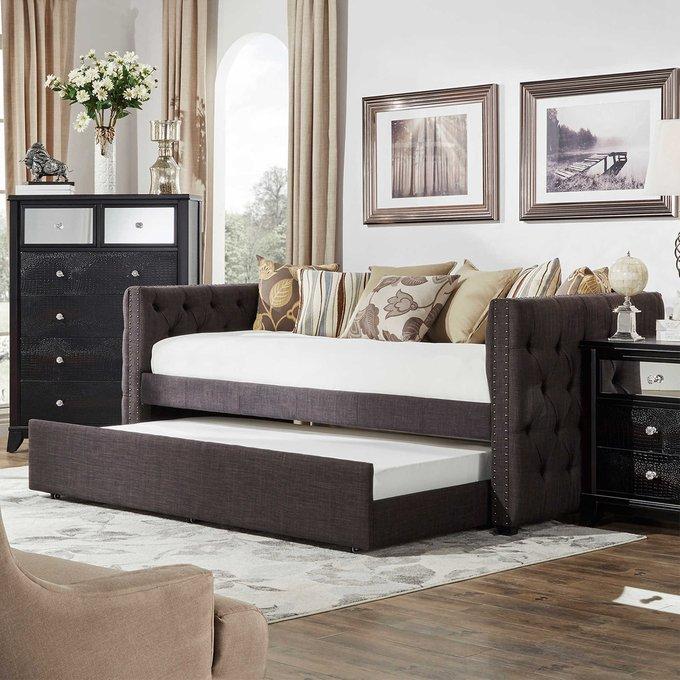 Диван-кровать Taira коричневого цвета 90х200