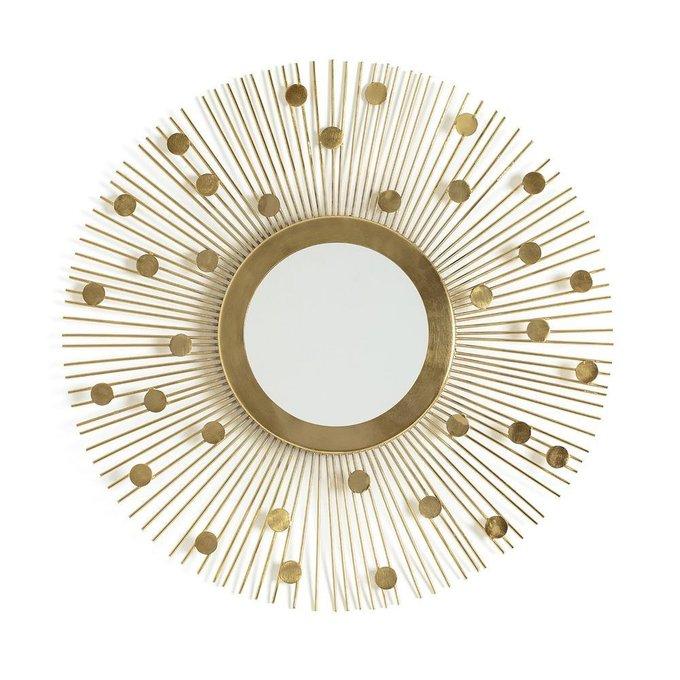 Настенное зеркало Soleil в раме золотого цвета