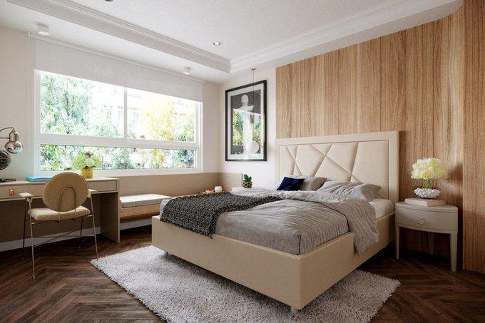 Кровать Геометрия 200х200 тёмно-синего цвета