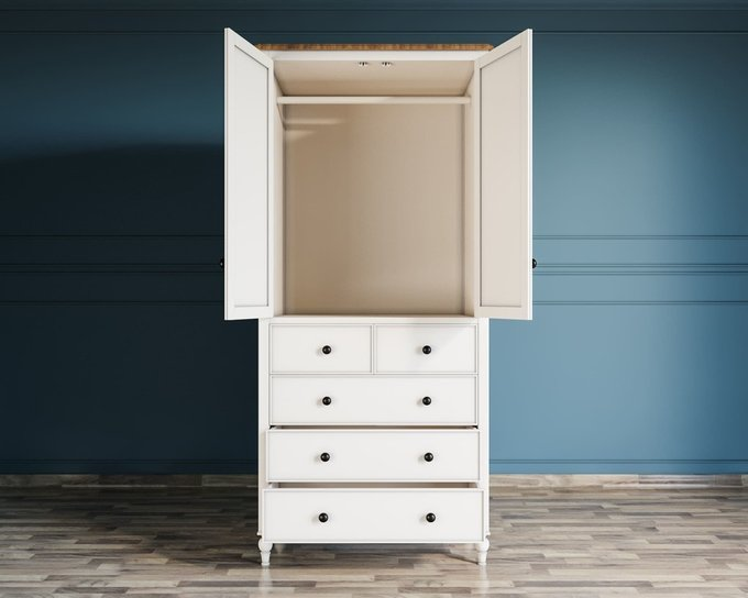 Шкаф двухстворчатый Odri с пятью ящиками