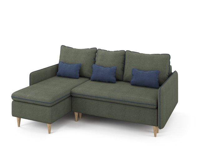 Угловой раскладной диван Ron левый темно-зеленого цвета
