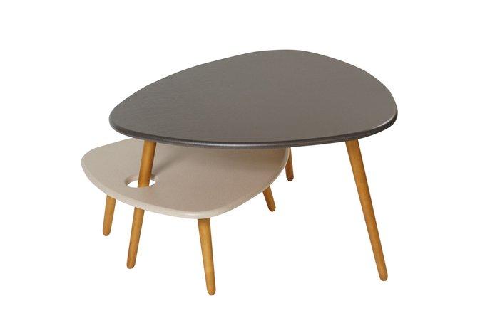 Комплект столов журнальных Стилгрей  цвета серый лен и бежевый лен