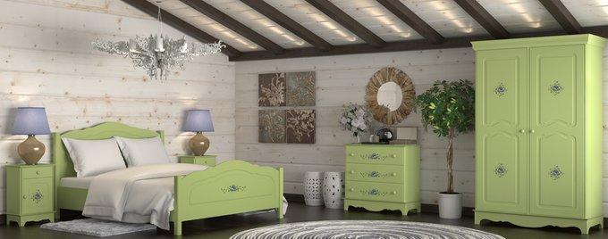 Шкаф трехстворчатый Belle Fleur Olive с объемным рисунком