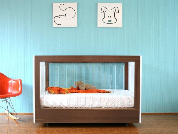 кроватка Roh Spot On Square орех c двух сторон акриловые панели