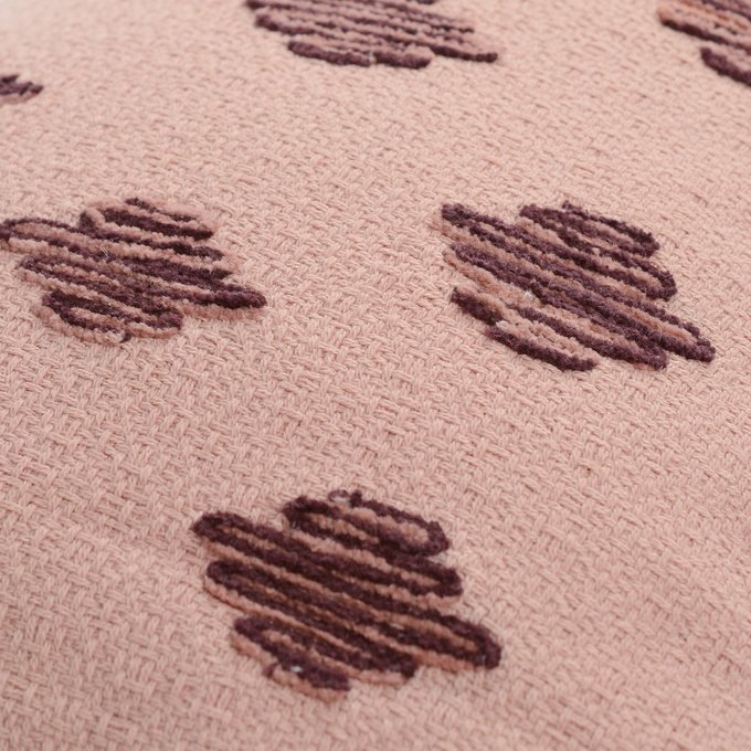 Подушка декоративная Ethnic из хлопка цвета пыльной розы с контрастным кантом