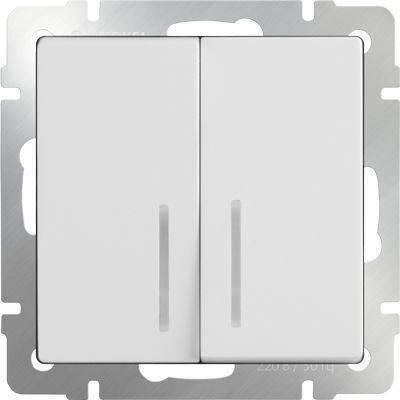 Выключатель двухклавишный с подсветкой белого цвета