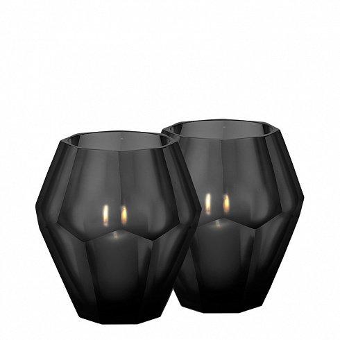Набор из двух подсвечников Okhto L черного цвета