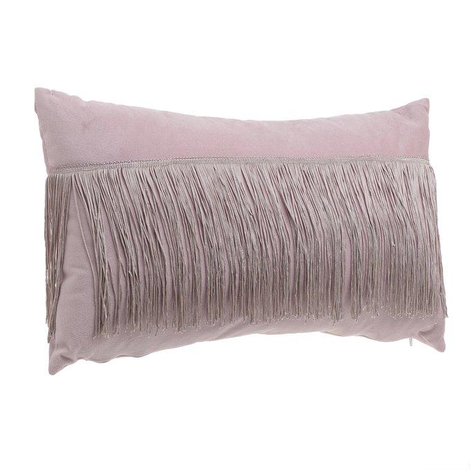 Подушка с бахромой розового цвета
