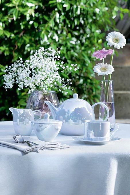 Набор из четырех чашек с блюдцем pearl 250 мл белый перламутр