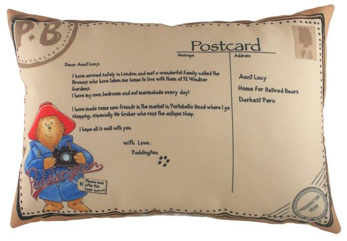 Подушка с принтом Paddington Postcard