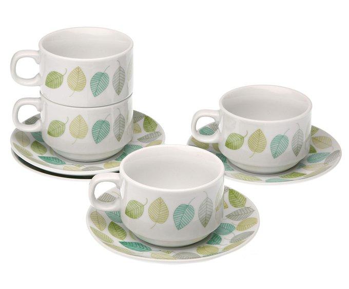 Набор из четырех чайных пар на подставке