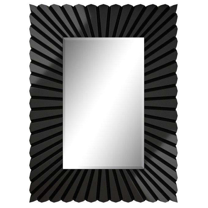 Глянцевое черное настенное зеркало Albergo
