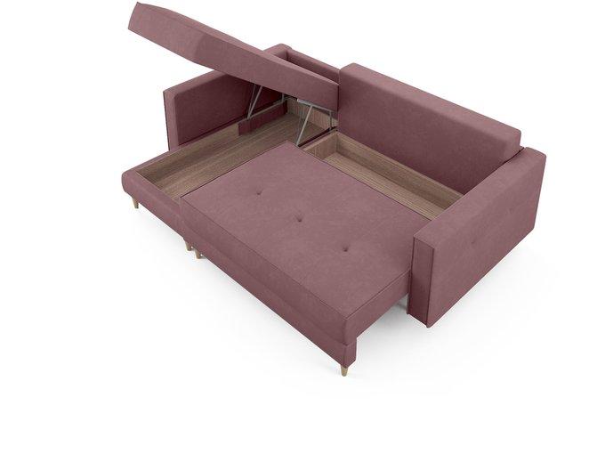Угловой диван-кровать левый Оtto темно-розового цвета