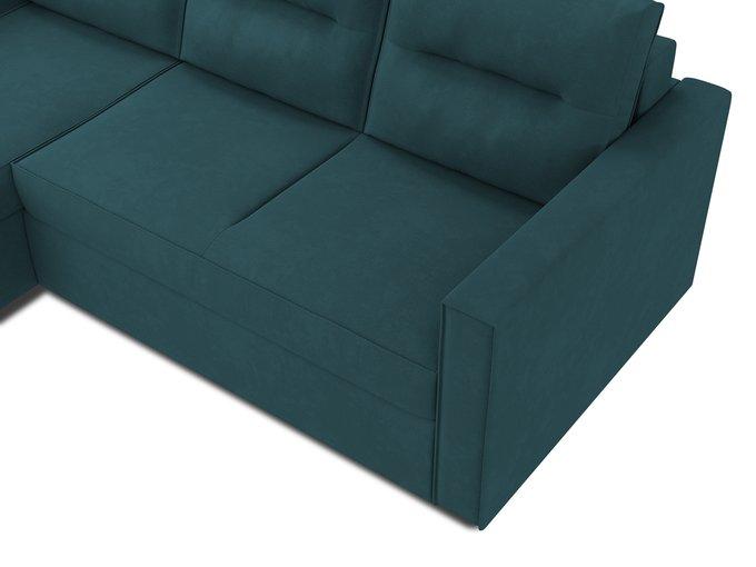 Угловой диван-кровать левый Macao сине-зеленого цвета