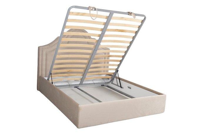 Кровать Charlotte бежевого цвета  с подъемным механизмом 160х200