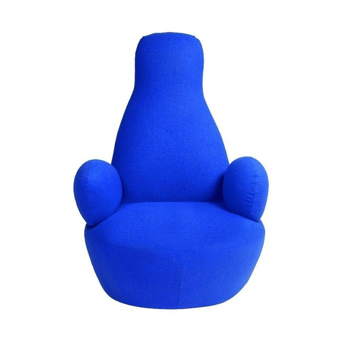 Кресло Bottle Chair с кашемиром синего цвета