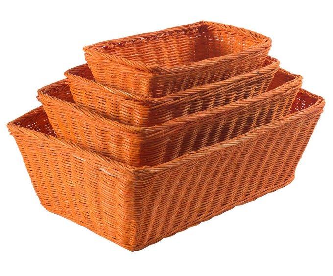 Набор из четырех корзин Rattan оранжевого цвета