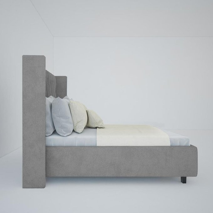 Кровать Wing-2 Лён Серый 160х200