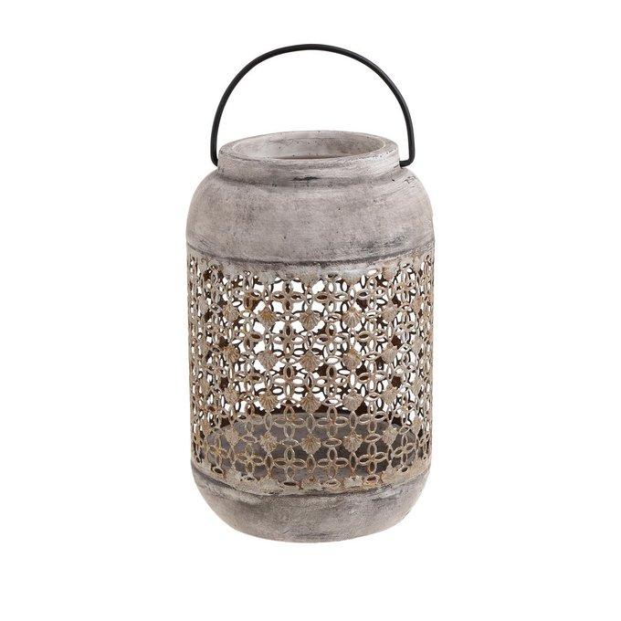 Подсвечник-фонарь из металла и цемента