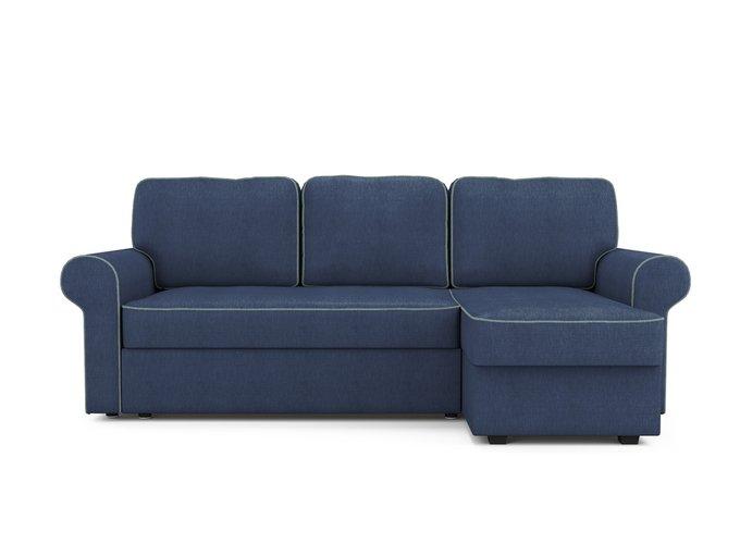 Угловой раскладной диван Tulon правый синего цвета